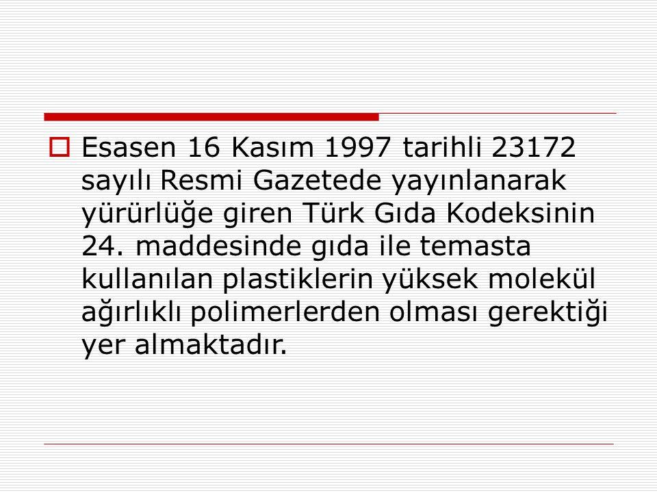 Esasen 16 Kasım 1997 tarihli 23172 sayılı Resmi Gazetede yayınlanarak yürürlüğe giren Türk Gıda Kodeksinin 24.