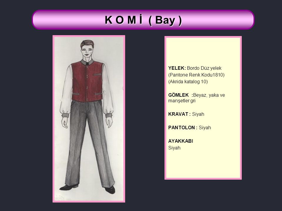 K O M İ ( Bay ) YELEK: Bordo Düz yelek (Pantone Renk Kodu1810)
