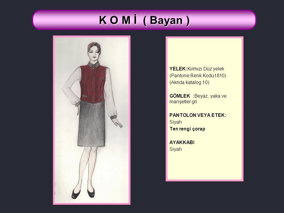 K O M İ ( Bayan ) YELEK:Kırmızı Düz yelek (Pantone Renk Kodu1810)
