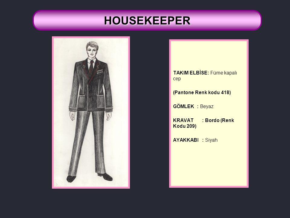 HOUSEKEEPER TAKIM ELBİSE: Füme kapalı cep (Pantone Renk kodu 418)