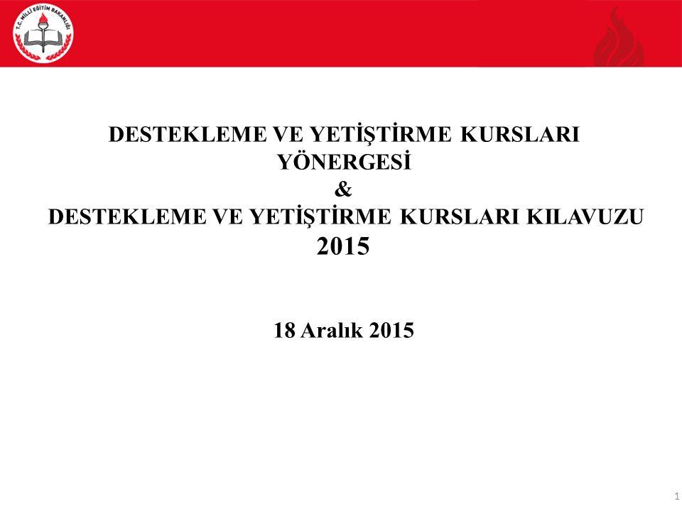 2015 DESTEKLEME VE YETİŞTİRME KURSLARI YÖNERGESİ &