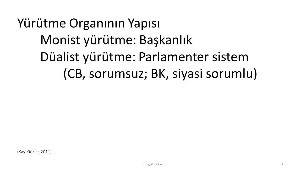 Yürütme Organının Yapısı Monist yürütme: Başkanlık
