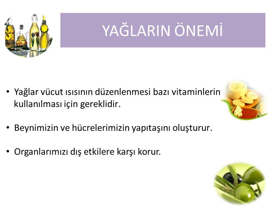 YAĞLARIN ÖNEMİ Yağlar vücut ısısının düzenlenmesi bazı vitaminlerin