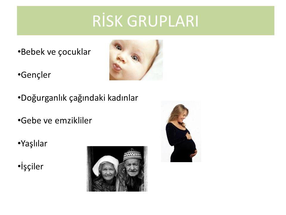 RİSK GRUPLARI Bebek ve çocuklar Gençler Doğurganlık çağındaki kadınlar