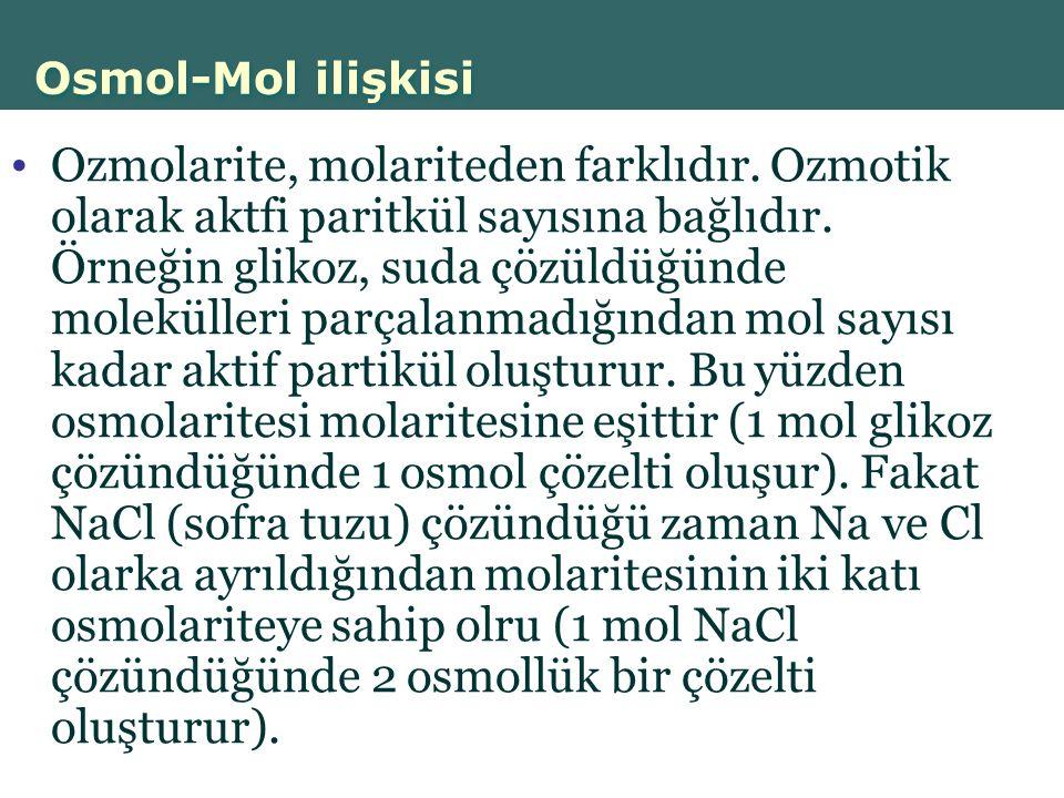 Osmol-Mol ilişkisi