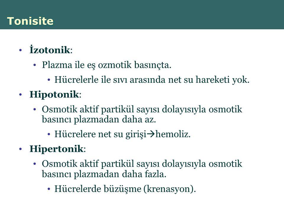 Tonisite İzotonik: Plazma ile eş ozmotik basınçta.