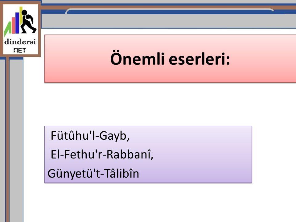 Fütûhu l-Gayb, El-Fethu r-Rabbanî, Günyetü t-Tâlibîn