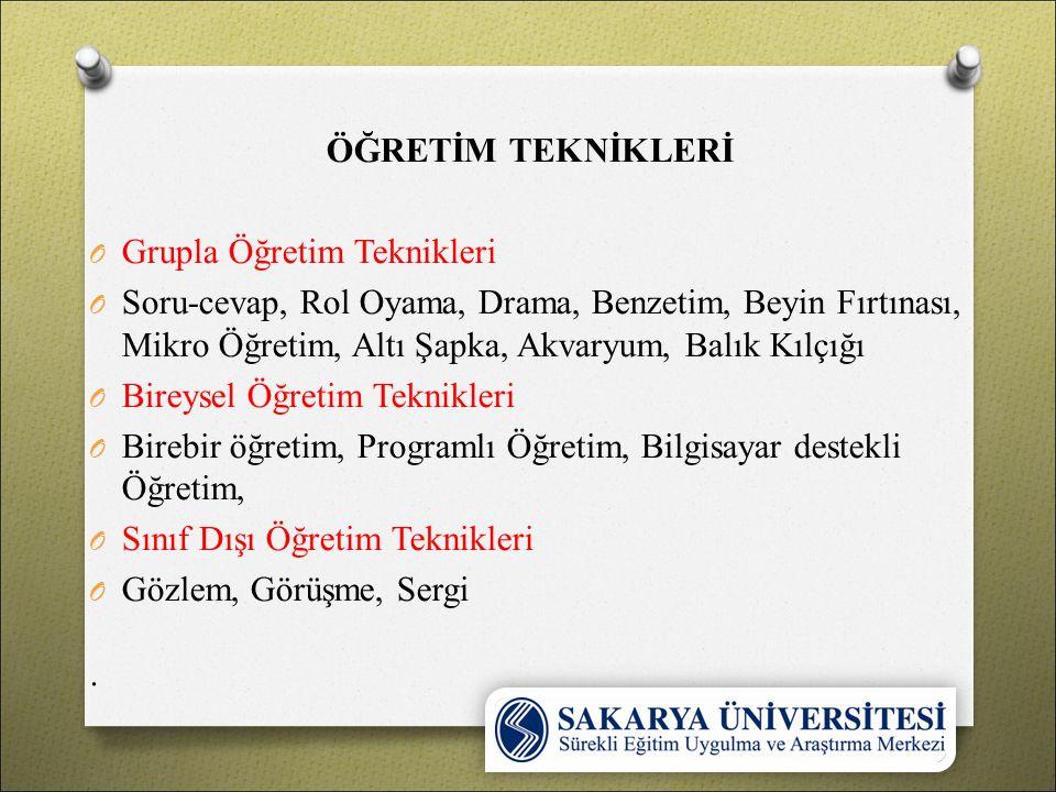 ÖĞRETİM TEKNİKLERİ Grupla Öğretim Teknikleri.