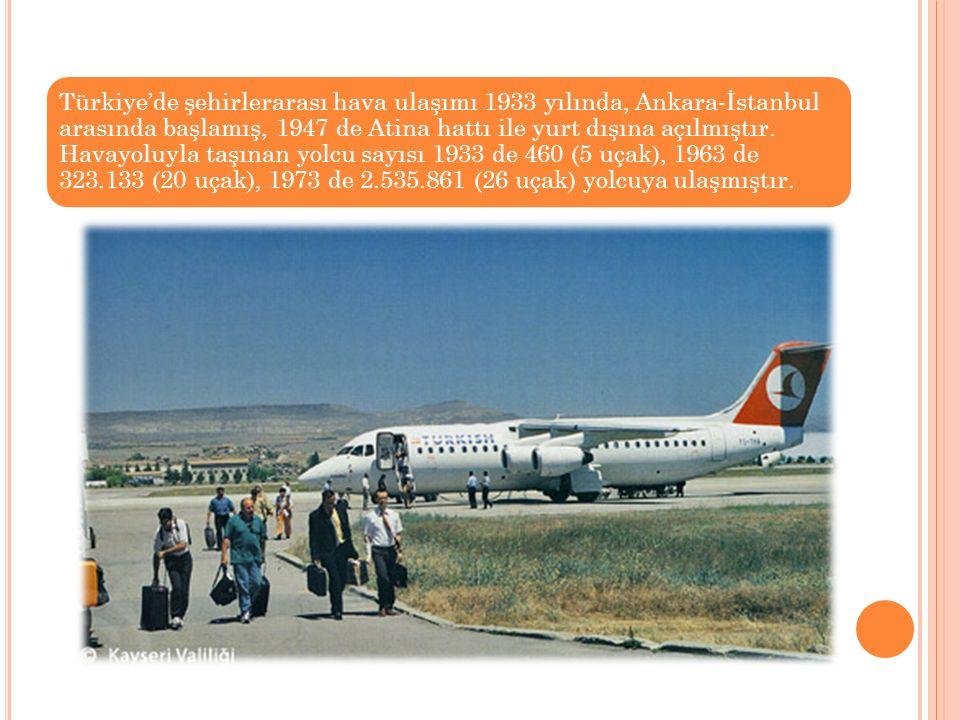 Türkiye'de şehirlerarası hava ulaşımı 1933 yılında, Ankara-İstanbul arasında başlamış, 1947 de Atina hattı ile yurt dışına açılmıştır.