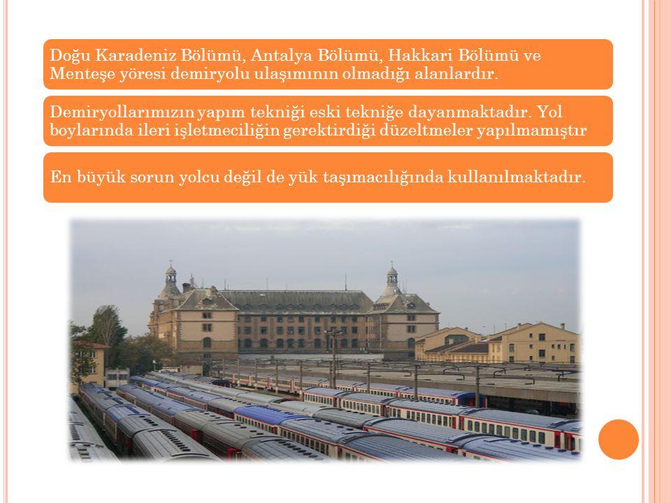 Doğu Karadeniz Bölümü, Antalya Bölümü, Hakkari Bölümü ve Menteşe yöresi demiryolu ulaşımının olmadığı alanlardır.