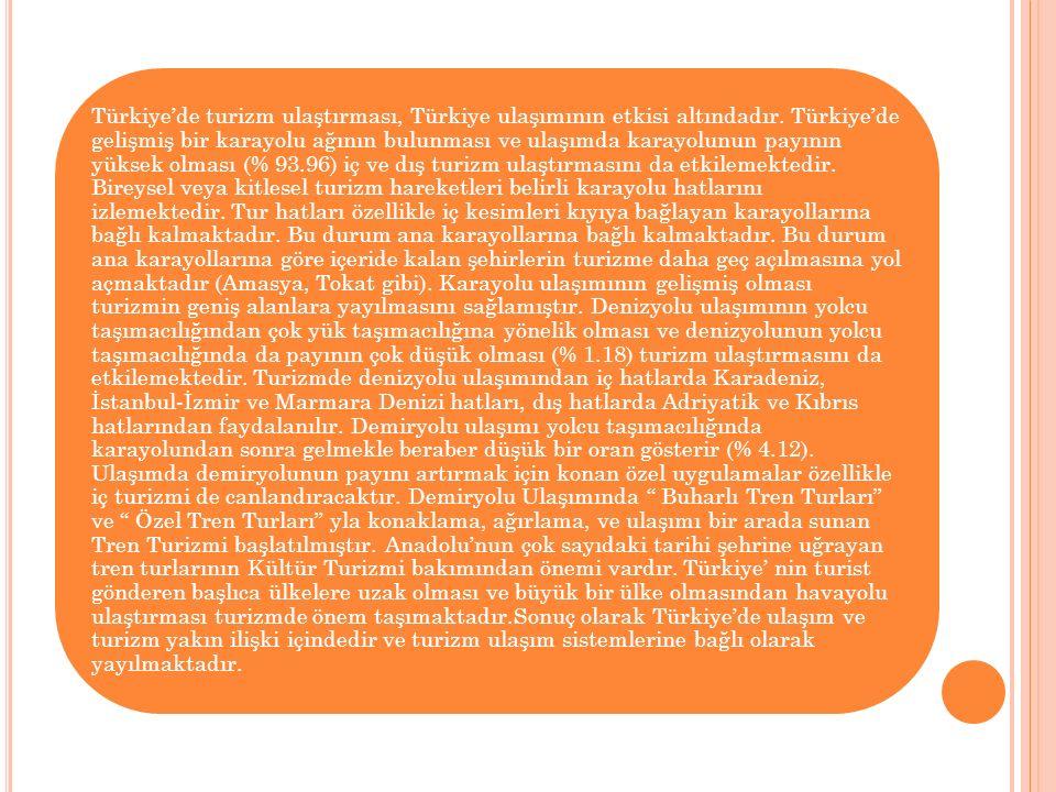 Türkiye'de turizm ulaştırması, Türkiye ulaşımının etkisi altındadır