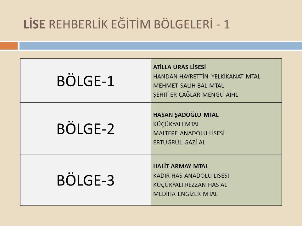 LİSE REHBERLİK EĞİTİM BÖLGELERİ - 1