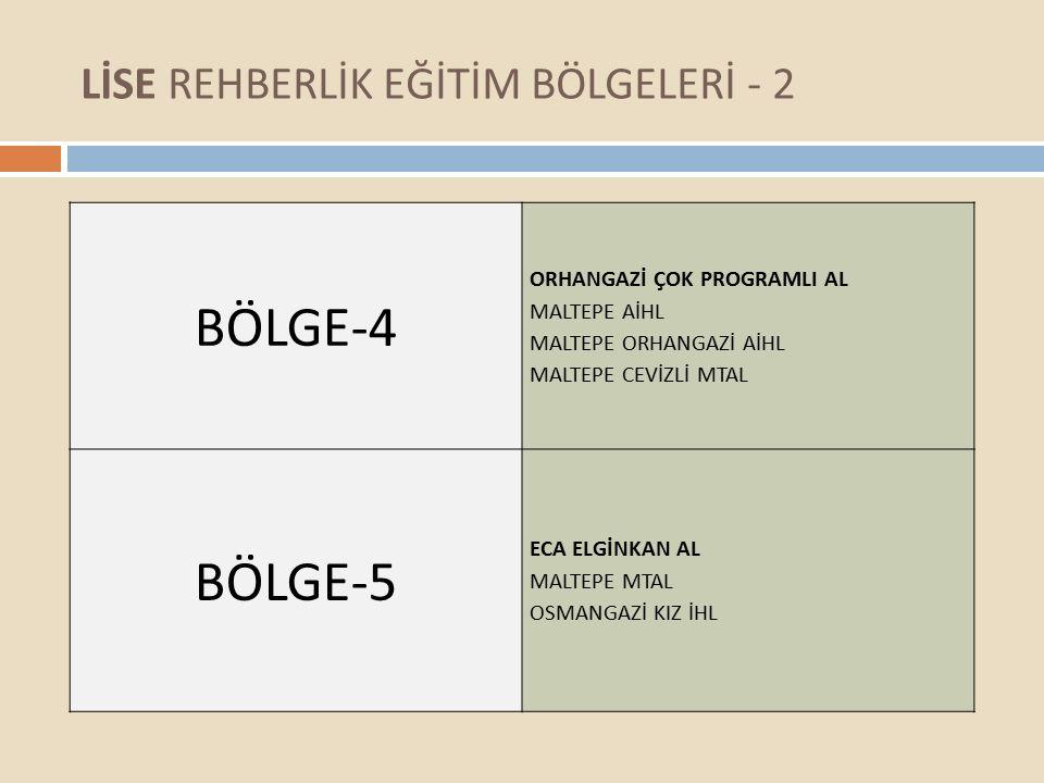 LİSE REHBERLİK EĞİTİM BÖLGELERİ - 2