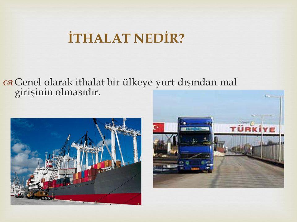 İTHALAT NEDİR Genel olarak ithalat bir ülkeye yurt dışından mal girişinin olmasıdır.