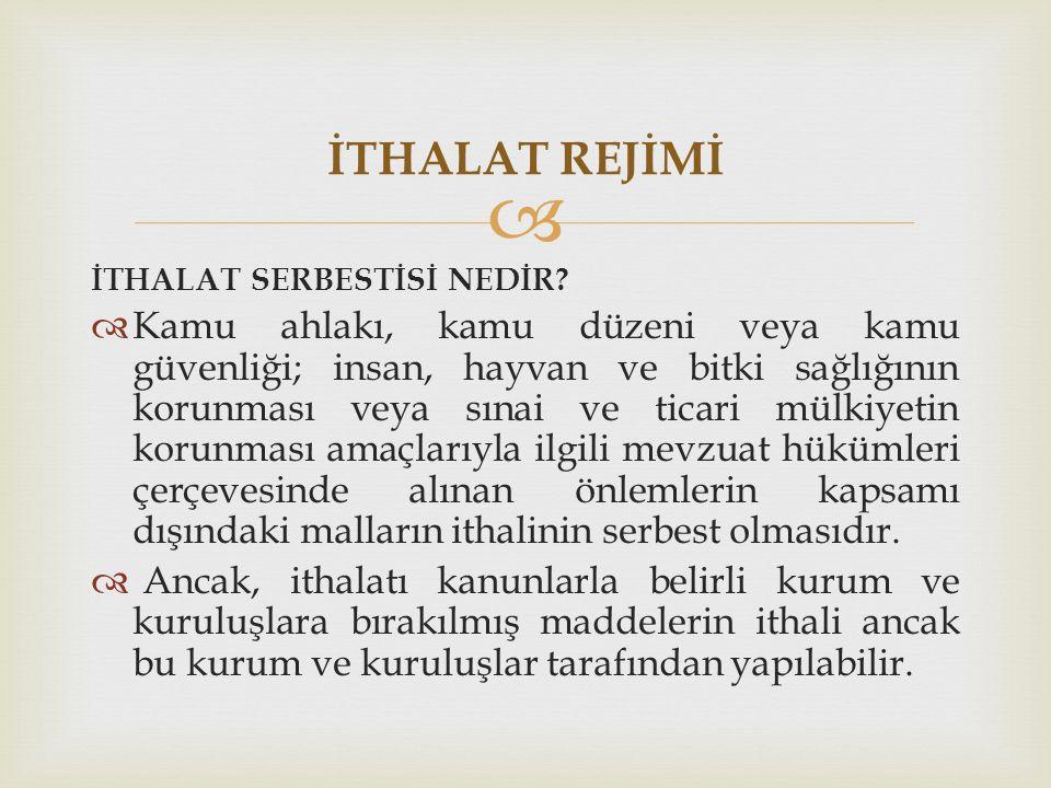 İTHALAT REJİMİ İTHALAT SERBESTİSİ NEDİR