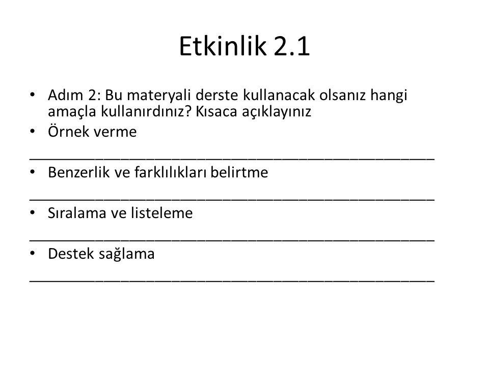 Etkinlik 2.1 Adım 2: Bu materyali derste kullanacak olsanız hangi amaçla kullanırdınız Kısaca açıklayınız.