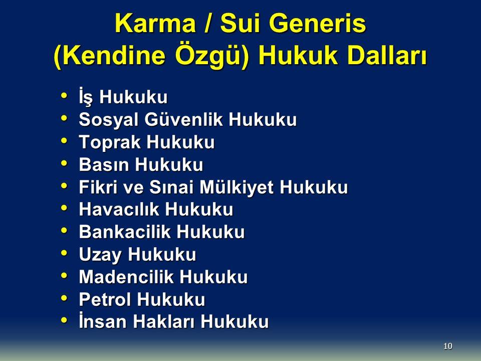 Karma / Sui Generis (Kendine Özgü) Hukuk Dalları