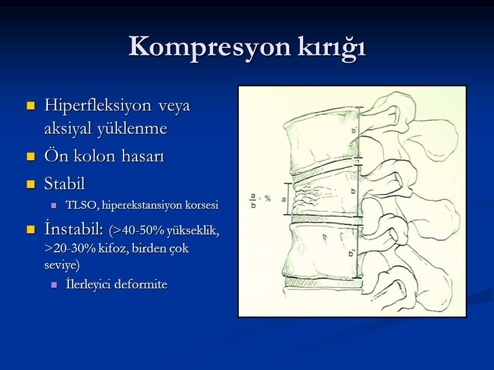 Kompresyon kırığı Hiperfleksiyon veya aksiyal yüklenme Ön kolon hasarı
