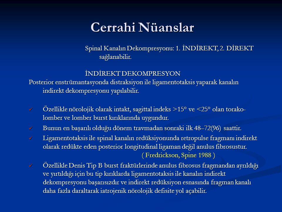 Cerrahi Nüanslar Spinal Kanalın Dekompresyonu: 1. İNDİREKT, 2. DİREKT sağlanabilir. İNDİREKT DEKOMPRESYON.
