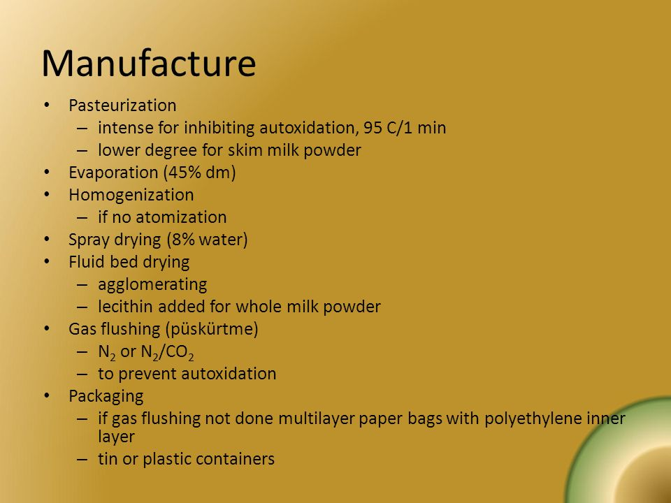 Manufacture Pasteurization