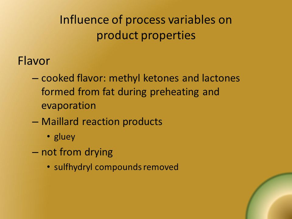 Influence of process variables on product properties