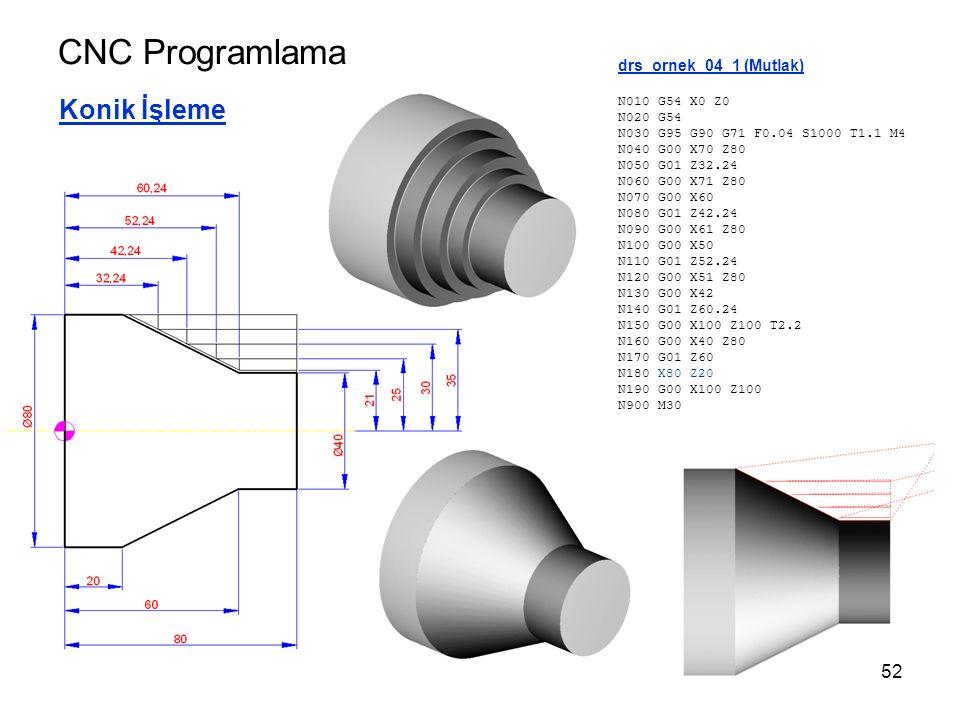CNC Programlama Konik İşleme drs_ornek_04_1 (Mutlak) N010 G54 X0 Z0