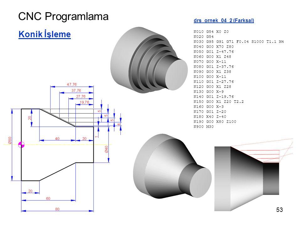 CNC Programlama Konik İşleme drs_ornek_04_2 (Farksal) N010 G54 X0 Z0