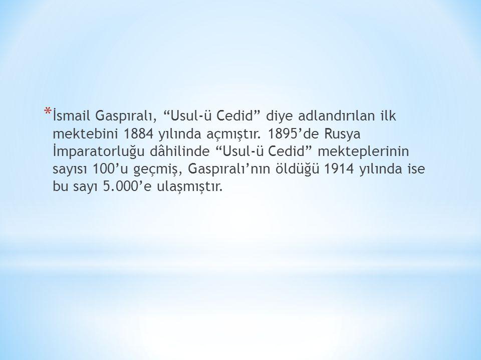 İsmail Gaspıralı, Usul-ü Cedid diye adlandırılan ilk mektebini 1884 yılında açmıştır.