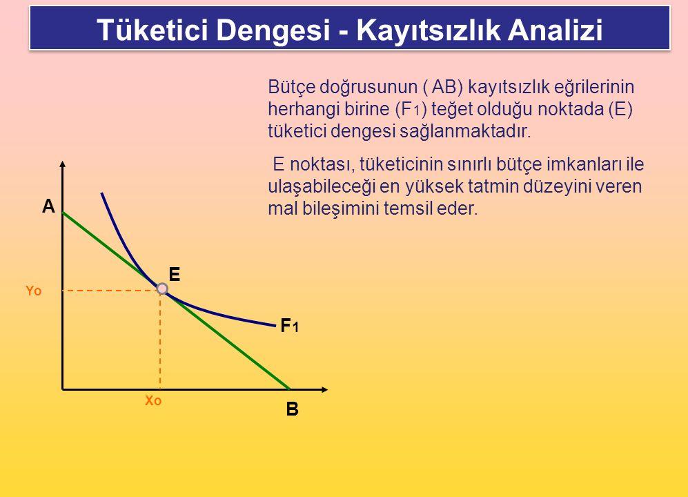 Tüketici Dengesi - Kayıtsızlık Analizi