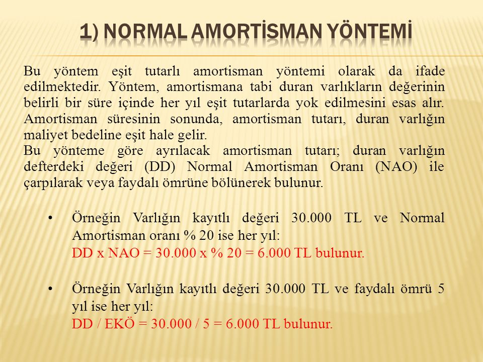1) NORMAL AMORTİSMAN YÖNTEMİ