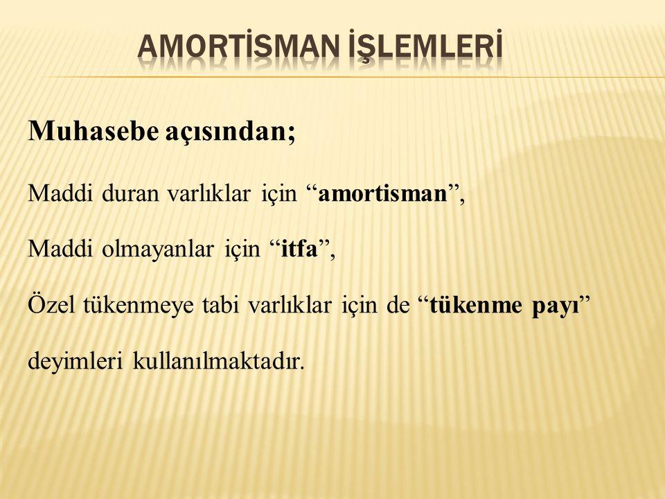 AMORTİSMAN İŞLEMLERİ Muhasebe açısından;