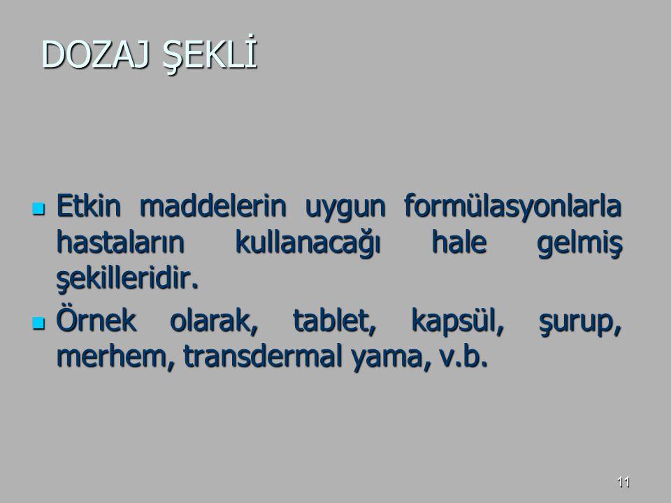 DOZAJ ŞEKLİ Etkin maddelerin uygun formülasyonlarla hastaların kullanacağı hale gelmiş şekilleridir.