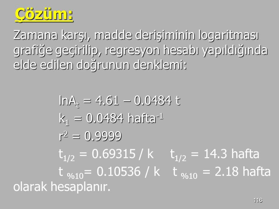 Çözüm: Zamana karşı, madde derişiminin logaritması grafiğe geçirilip, regresyon hesabı yapıldığında elde edilen doğrunun denklemi: