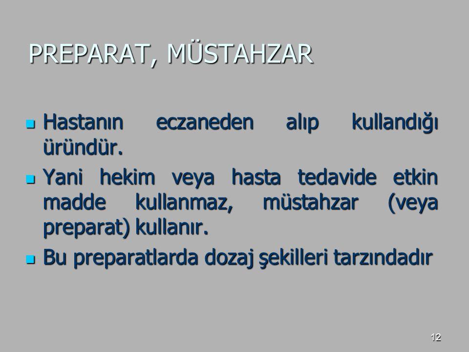 PREPARAT, MÜSTAHZAR Hastanın eczaneden alıp kullandığı üründür.