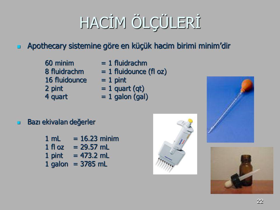 HACİM ÖLÇÜLERİ Apothecary sistemine göre en küçük hacim birimi minim'dir. 60 minim = 1 fluidrachm.