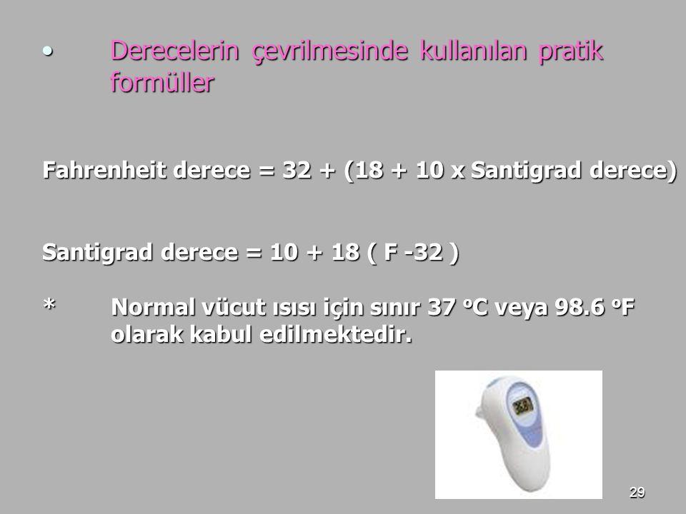 Derecelerin çevrilmesinde kullanılan pratik formüller