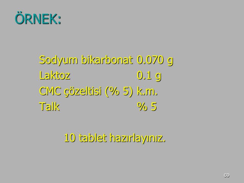 ÖRNEK: Sodyum bikarbonat 0.070 g Laktoz 0.1 g CMC çözeltisi (% 5) k.m.