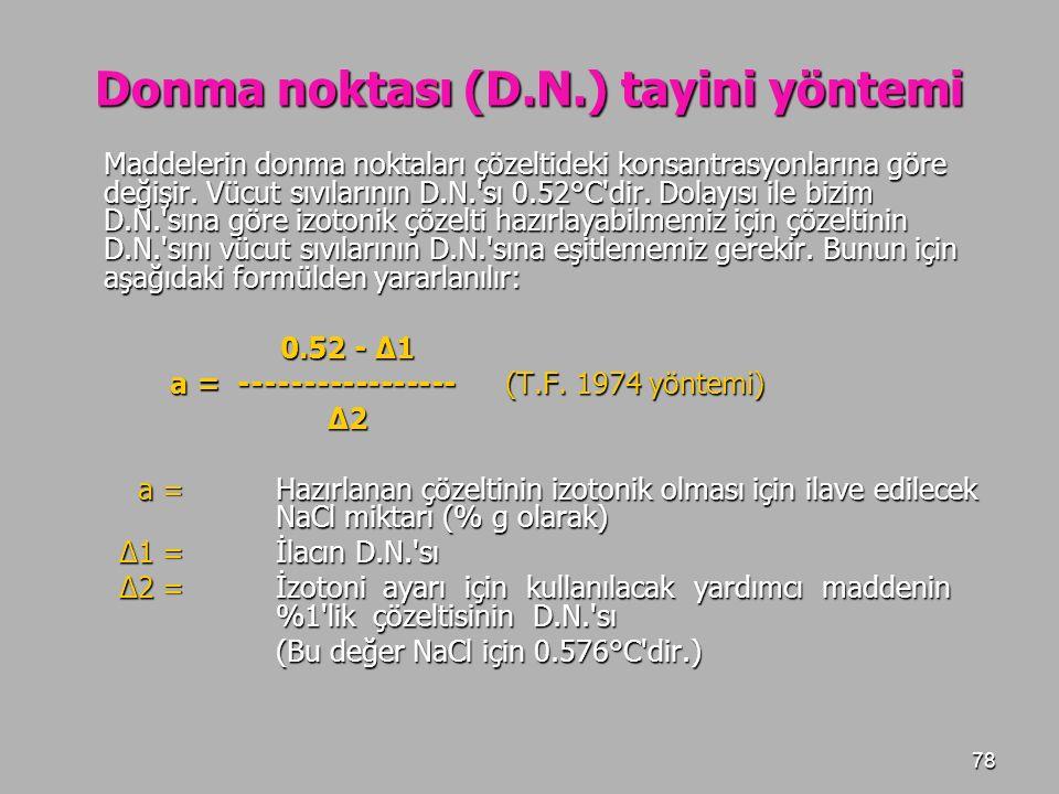 Donma noktası (D.N.) tayini yöntemi