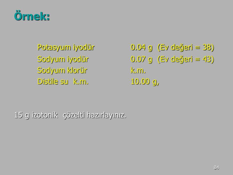 Potasyum iyodür 0.04 g (Ev değeri = 38)