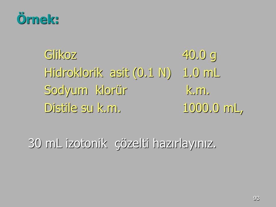 Örnek: Glikoz 40.0 g. Hidroklorik asit (0.1 N) 1.0 mL. Sodyum klorür k.m. Distile su k.m. 1000.0 mL,