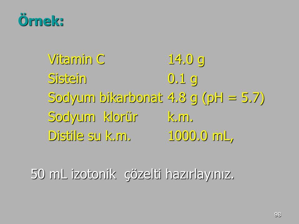 Örnek: Vitamin C 14.0 g. Sistein 0.1 g. Sodyum bikarbonat 4.8 g (pH = 5.7) Sodyum klorür k.m.