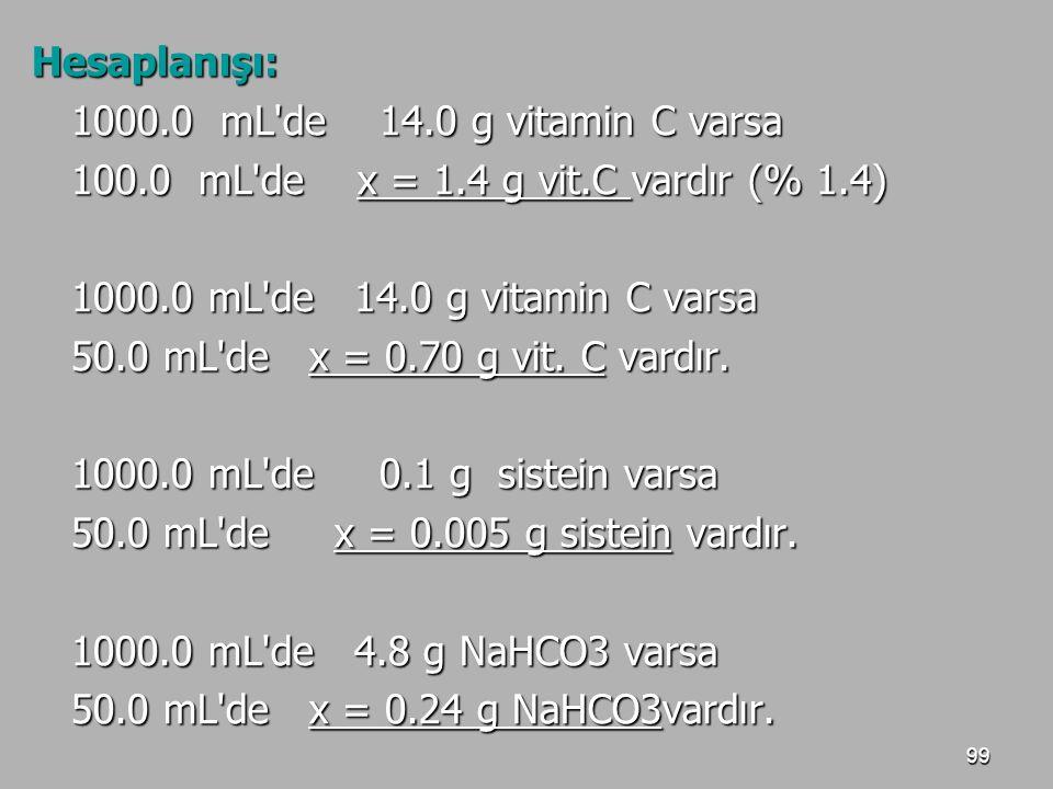 Hesaplanışı: 1000.0 mL de 14.0 g vitamin C varsa. 100.0 mL de x = 1.4 g vit.C vardır (% 1.4)
