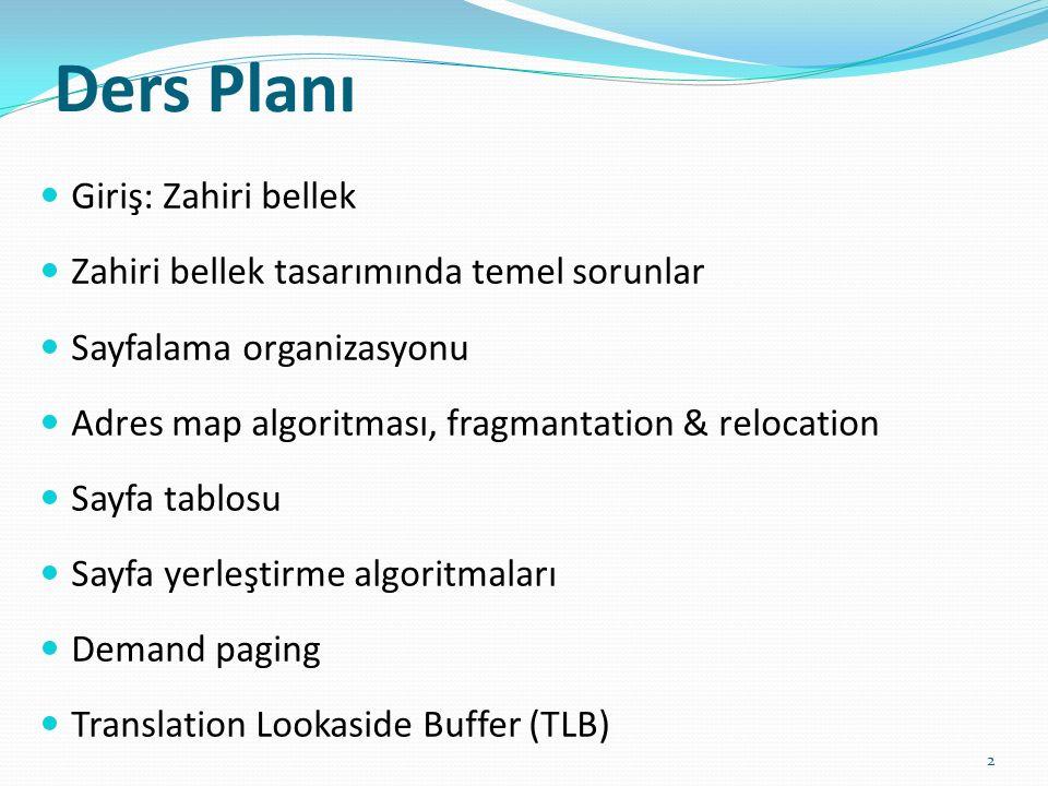 Ders Planı Giriş: Zahiri bellek