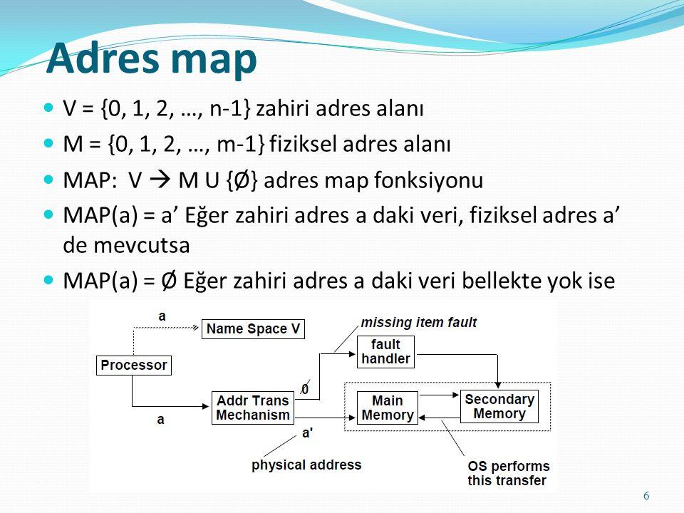 Adres map V = {0, 1, 2, …, n-1} zahiri adres alanı