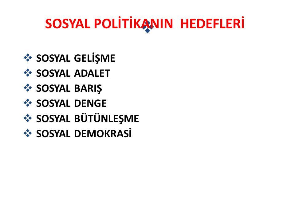 SOSYAL POLİTİKANIN HEDEFLERİ