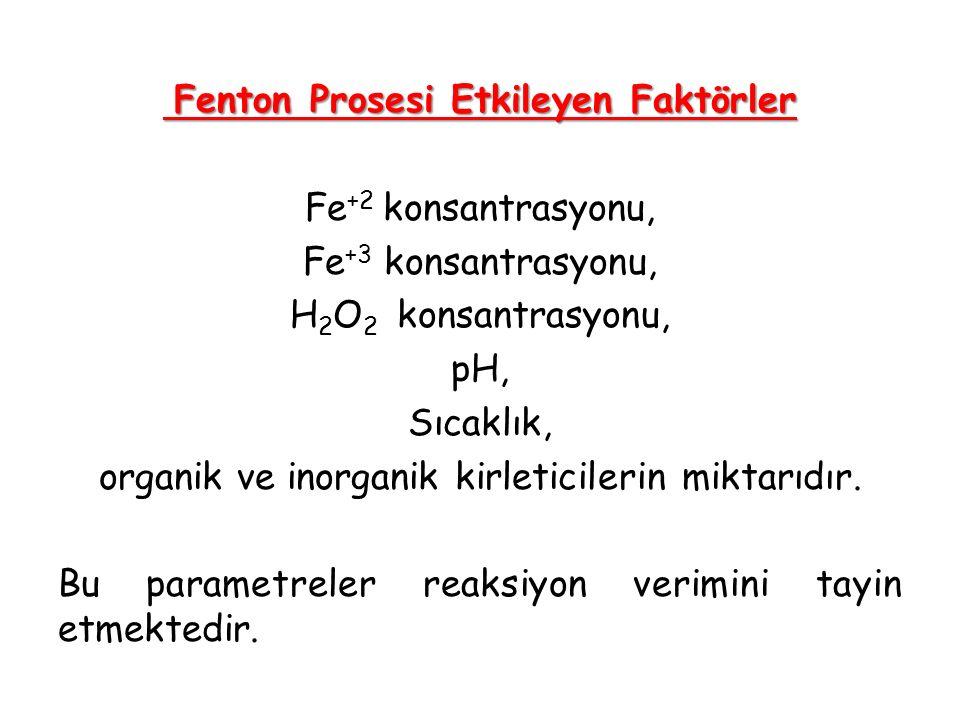 Fenton Prosesi Etkileyen Faktörler Fe+2 konsantrasyonu, Fe+3 konsantrasyonu, H2O2 konsantrasyonu, pH, Sıcaklık, organik ve inorganik kirleticilerin miktarıdır.