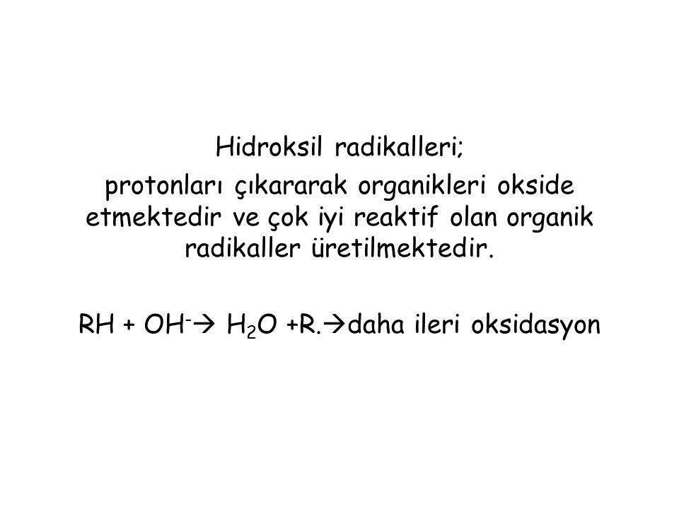 Hidroksil radikalleri; protonları çıkararak organikleri okside etmektedir ve çok iyi reaktif olan organik radikaller üretilmektedir.