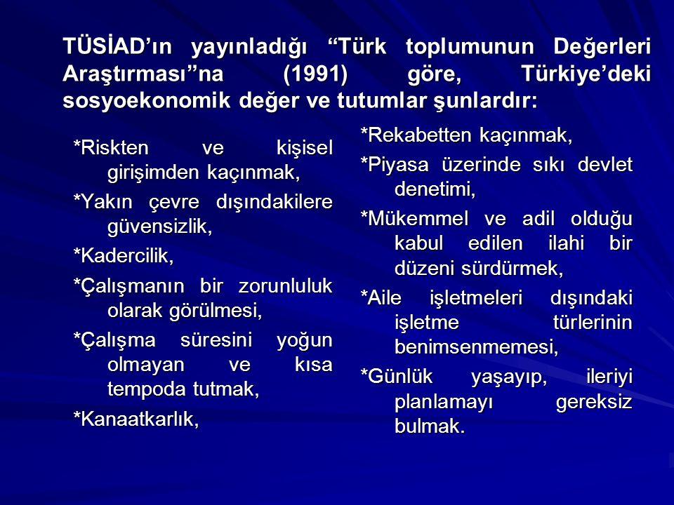TÜSİAD'ın yayınladığı Türk toplumunun Değerleri Araştırması na (1991) göre, Türkiye'deki sosyoekonomik değer ve tutumlar şunlardır: