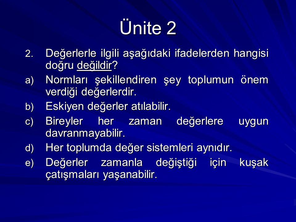 Ünite 2 Değerlerle ilgili aşağıdaki ifadelerden hangisi doğru değildir Normları şekillendiren şey toplumun önem verdiği değerlerdir.