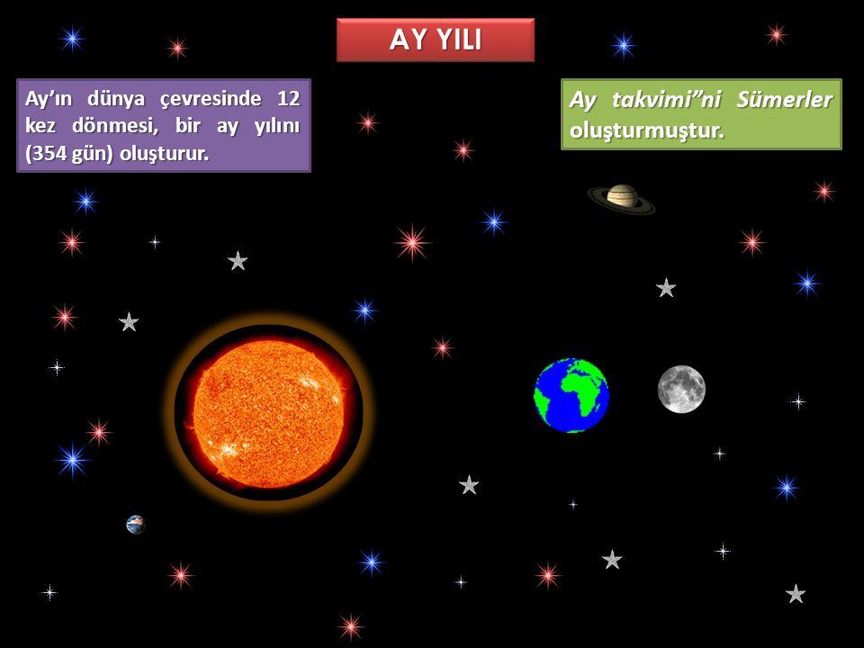 AY YILI Ay takvimi ni Sümerler oluşturmuştur.